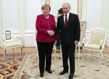 Angela Merkel und Vladimir Putin beim Gespräch im Kreml. Foto: APA