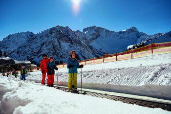 Förderband Palüd             Das Förderband bei der Bergstation der Palüdbahn ist ideal für die ersten Schritte im Schnee.