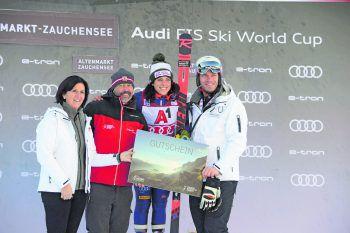 Von links nach rechts: Veronika Scheffer, Peter Mall, Federica Brignone, Michael WalchhoferFoto: handout / Zauchensee Skiworldcup