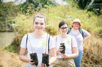 """<p class=""""caption"""">Bei heißen 36 Grad pflanzten die Lehrlinge Bäume für bessere Klimaverhältnisse.</p>"""