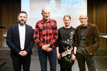 Die Vortragenden: Enrico Bravi, Harald Trapp (TU Wien), Sina Wagner (Lichtstadt Feldkirch) und Thomas Häusle.