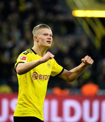 Doppelpack für Dortmunds Erling Haaland gegen Union Berlin. Foto: AFP