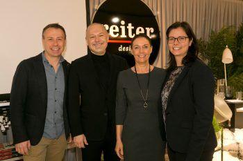 Ernst Seidl (Seidl Catering), Harald Künzle (reiter design), Carolin Frei (Gemeindemarketing) und Rankweils Bürgermeisterin Katharina Wöß-Krall.