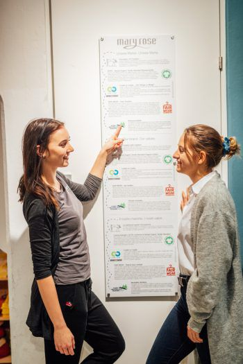 """<p class=""""caption"""">Laura zeigt Antonia die Labels, die bei Mary Rose in Dornbirn aufgelistet sind.</p>"""