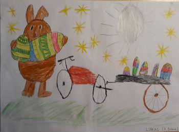 """<p class=""""caption"""">Lukas Hase ist sportlich und verteilt die Ostereier mit dem Rad.</p>"""