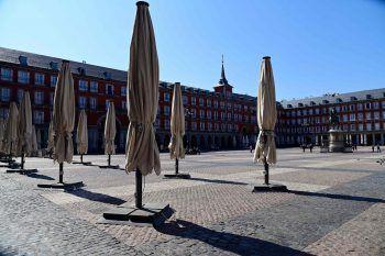 <p>Madrid. Verlassen: Der Plaza Mayor (Hauptplatz) ist wie leergefegt.</p>