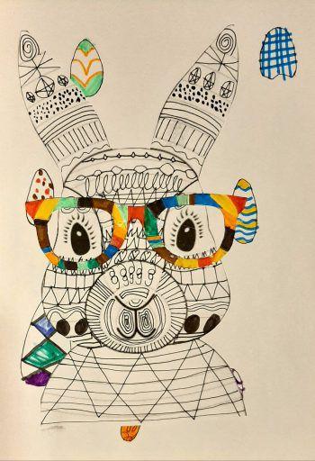 Wow: Jonathan (10) hat den modernen Osterhasen gemalt. Fotos: privat