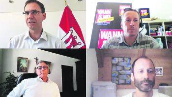 W&W-Zoom-Call mit LH Markus Wallner, Bgm. Wolfgang Matt und Poolbar-GF Herwig Bauer.Foto: Screenshot Zoom