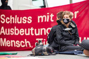 Einige Demonstranten ketteten sich aneinander.Foto: APA/dpa