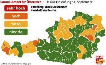 Im Bezirk Bludenz (orange) gilt für das Montafon beispielsweise Warnstufe gelb.