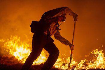 <p>Monrovia. Höllisch: Ein Feuerwehrmann kämpft gegen das Flammenmeer in einem kalifornischen Nationalpark.</p>