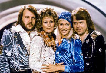 Anni-Frid (2.v.l.) und ihre Band-Kollegen von ABBA. Foto: AFP