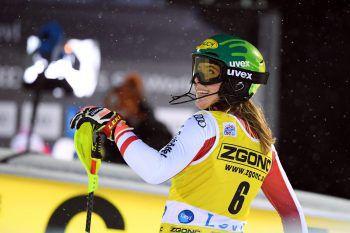 Katharina Liensberger aus Göfis präsentierte sich gestern in Finnland in bestechender Form – heute geht es in Levi weiter.Foto: APA