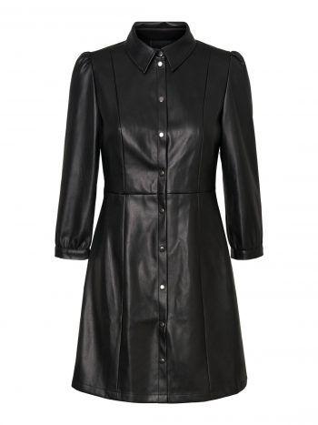 """<p class=""""caption"""">Stylisches Blusenkleid in Lederoptik, erhältlich bei Vero Moda um 49,99 Euro.</p>"""