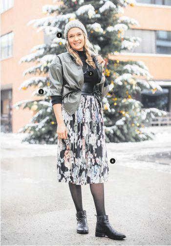 |1| Amanda trägt eine warme Mütze um 26,99 Euro. |2| Der schwarze Pulli kostet 27,99 Euro. |3| Dazu passt die Leder-Bluse um 39,99 Euro. |4| Der Rock mit floralem Muster rundet das Outfit ab und ist um 45,99 Euro erhältlich. Alle Artikel hat Amanda bei Broadway Fashion in Götzis eingekauft.