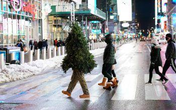 """<p>New York. Weihnachtsbaum: Tommy Liberto aka """"Mr. Christmas Tree"""" spaziert als Christbaum verkleidet durch die Straßen des Big Apple.</p>"""