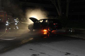 Das Elektroauto geriet immer wieder in Brand und musste schließlich in einerMetallmulde voller Löschwasser versenkt werden.Foto: Feuerwehr Lustenau