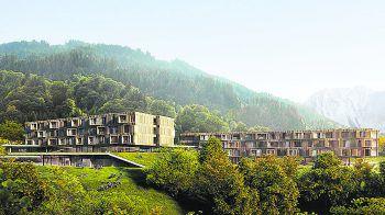Das erste 5-Sterne Familienhotel soll im Dezember 2022 eröffnet werden. Fotos: handout/illwerke vkw