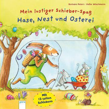Hase, Nest und Osterei –Mein lustiger Schieber-Spaß              Bald ist endlich wieder Ostern! Rund um die Osterhasenwerkstatt ist jede Menge los, denn es müssen so viele Eier bunt bemalt und versteckt werden! Zum Glück hat der Osterhase Hilfe von allen Tieren. Ein toller Oster-Schieber-Spaß zum Mitmachen. Preis: 10,30 Euro, ab 2 Jahre.