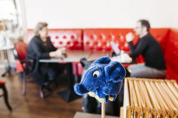 """<p class=""""caption"""">WANN & WO besuchte Andrea Kinz im Café Leutbühel: Natürlich getestet und mit zwei Metern Abstand. Ein Babyelefant achtete auf die nötige Distanz. Fotos: Sams</p>"""
