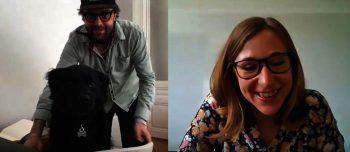 "<p class=""caption"">Redakteurin Anja interviewte Christian (und Hund Benson) über Video-Call.</p>"