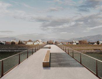 Die Radbrücke soll die Gemeinden Lustenau und Au verbinden.Visualisierung: Giorgio Masotti/VLK