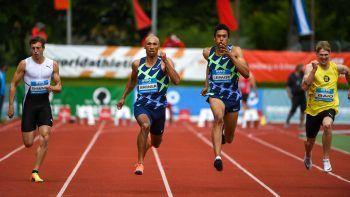 """<p class=""""caption"""">Im 100 Meter-Lauf ließ Damian Warner die Konkurrenz ebenfalls hinter sich.</p>"""
