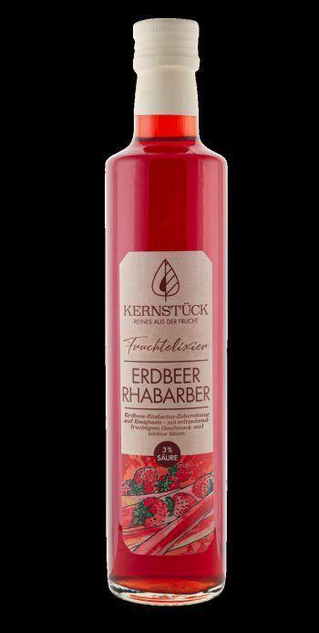 """<p class=""""caption"""">Kernstück Fruchtelixier Erdbeer Rhabarber: Erfrischender Genuss auf Essigbasis, verfeinert mit süßen Erdbeeren und Rhabarber. Erhältlich von März bis August bei der Genusskiste in Hörbranz. Preis: ab 8,99 Euro.</p><p class=""""caption"""" />"""