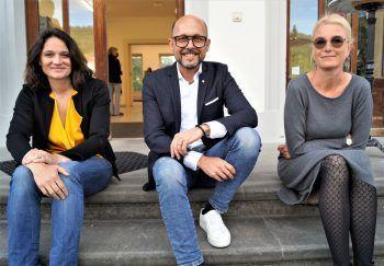 """<p class=""""caption"""">Künstlerhaus-Präsidentin Maria Simma, Bgm. Michael Ritsch und Irma Gerstenmayer (Künstlerhaus).</p>"""