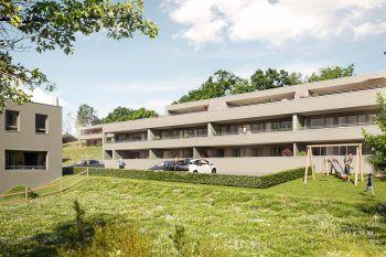 Im Winkelweg in Schlins werden drei Baukörper errichtet. Fotos: handout/Fussenegger Wohnbau