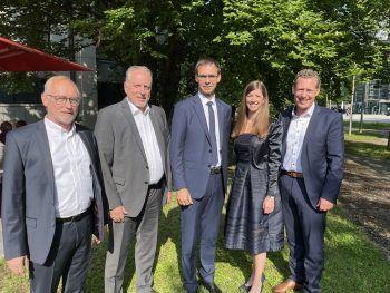 """<p class=""""caption"""">AK-Spitze um Rainer Keckeis, Hubert Hämmerle, Jessica Lutz und Bernhard Heinzle mit LH Markus Wallner.</p>"""