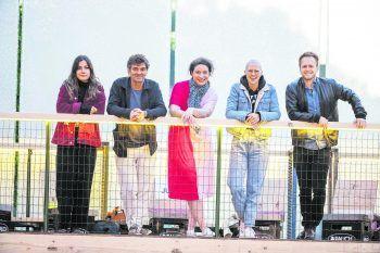"""<p class=""""caption"""">Sie waren die Jury des """"Sound@V"""" 2021: Sophie Lindinger, Till Hofmann,Amira Ben Saoud, Stefanie Heinzmann und Lukas Hillebrand (v.l.n.r.).</p>"""