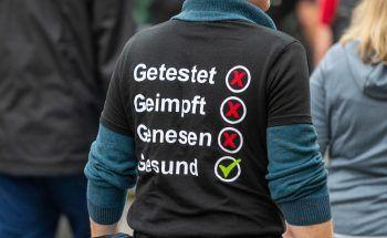 Ein Demonstrant in Berlin.Foto: APA/dpa
