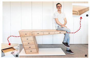  1  Mit Liebe zum Detail gefertigte Schubladen.  2  Aufwendig: Die Ecken des Schreibtisches wurden gezinkt.  3  Max Echter hat mit seinem Meisterstück auf voller Linie überzeugt. Fotos: handout/WKV