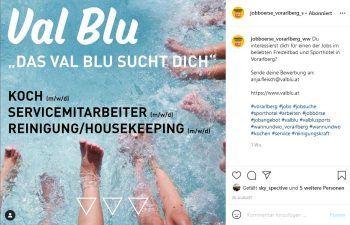 """<p class=""""caption"""">Die Jobanzeigen werden nicht nur im Print, sondern auch auf dem WANN & WO-Instagram-Kanal """"jobboerse_vorarlberg_ww"""" gepostet, um so noch mehr Erfolg zu haben.</p>"""